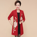 秋季新款中老年女装韩版开衫外套中长款大码妈妈装  bj-F180-681