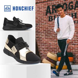 HONCHIEF 红蜻蜓旗下春秋新款牛皮弹力布拼接男鞋韩版运动休闲鞋