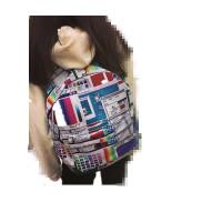 ?韩版原宿卡通撞色印花涂鸦男女双肩包学院风书包旅行背包?