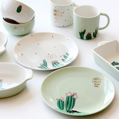包邮 仙人掌陶瓷杯饭汤碗爆款推荐 创意餐具碗碟盘杯套装 2017新款