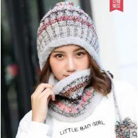 逛街帽子女围脖一体加绒保暖时尚潮韩版甜美可爱毛线帽围巾两件套