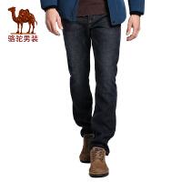 骆驼男装   冬季时尚男士中腰加绒加厚牛仔裤黑色长裤子男