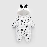 新生儿连体衣冬加厚爬服婴儿宝宝羽绒棉哈衣加绒保暖外穿熊猫套装