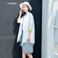 防晒衣女中长款夏季新款文艺简约宽松防紫外线薄款休闲外套 白色