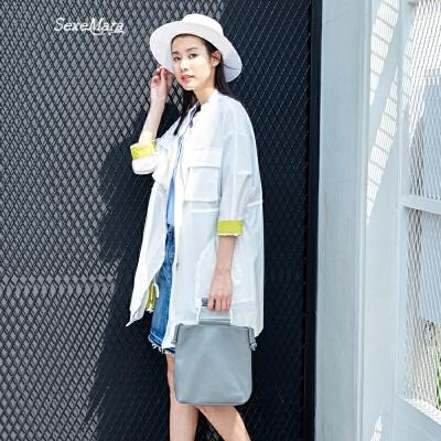 防晒衣女中长款夏季新款文艺简约宽松防紫外线薄款休闲外套 白色 发货周期:一般在付款后2-90天左右发货,具体发货时间请以与客服协商的时间为准