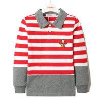 加菲猫男童条纹单POLO衫长袖GUW17413