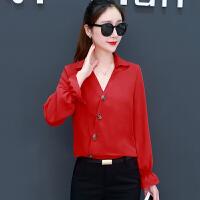 雪纺衫 女士V领拼接长袖套头衫2019年秋季新款韩版时尚潮流女式修身洋气女装衬衫