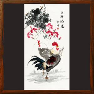 《吉祥鸿运》刘金瑞R5682  竖幅中堂大鸡图玄关影壁墙手绘画
