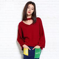 2018春季新款挂脖v领毛衣纯羊绒衫女套头喇叭袖女长袖针织衫短款