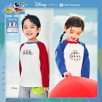 迷你巴拉巴拉儿童长袖T恤2021春款男童女童印花打底衫