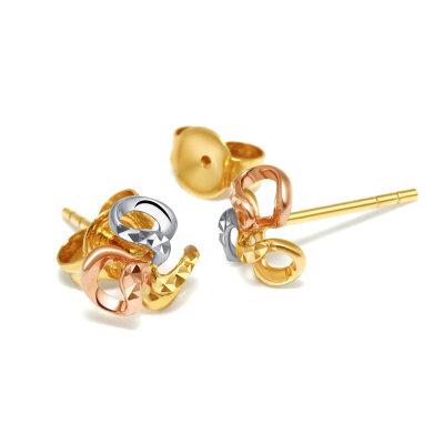 先恩尼 18K金耳钉 时尚三色耳饰  耳环耳饰 三色花 XDJ18002 珠宝首饰 花朵形送耳堵 送手链