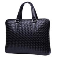 商务男士手提包 横款单肩包 公文包 编织纹 背包斜挎 手拎包包
