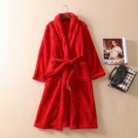 冬季情侣睡袍女加长法兰绒浴袍男士珊瑚绒纯色家居服睡衣口袋