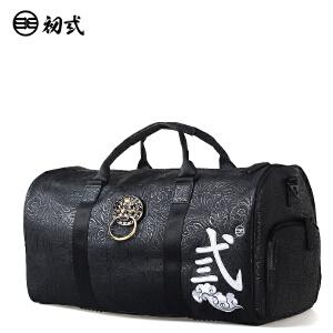 【支持礼品卡支付】初�q中国风潮牌男女压纹印花狮子头旅行手提单肩斜跨背包袋42003