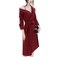 2018秋冬新款性感吊带露肩长袖腰带修身连衣裙派对晚会西装小礼服 酒红色