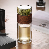 光一网红茶水分离泡茶水杯子双层透明玻璃杯创意家用耐热过滤男可爱女