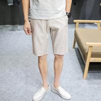 新款夏季男装韩版五分裤亚麻男士裤子5分修身休闲短裤男