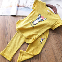 儿童休闲套装夏 竹节棉女童短袖体恤+宝宝哈伦裤套装儿童T恤童装