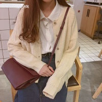 春装新款女装韩版百搭长袖开衫毛衣小清新宽松显瘦针织外套上衣女 均码