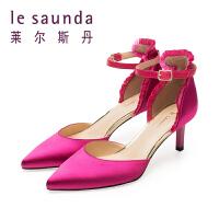 莱尔斯丹 春夏专柜款包头高跟细跟一字扣凉鞋女9M56325