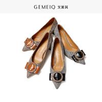 戈美其春秋季新款浅口尖头格子单鞋粗跟高跟鞋女鞋通勤工作鞋子