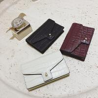 石头纹牛皮卡包女 欧美时尚小皮夹纯色短款零钱包SN9595 酒红色 预售