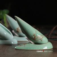 茶具配件茶漏茶滤陶瓷过滤器 龙泉青瓷茶叶滤茶器网状泡茶隔创意