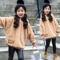 女童卫衣套装2017秋新款韩版中大童时髦加绒加厚连帽上衣潮
