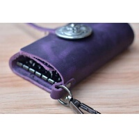 皮汽车钥匙包 复古大容量多功能 男士女士腰挂钥匙扣潮世帆家SN8510 深紫色 疯马皮