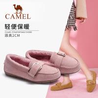 camel骆驼秋冬新款毛毛鞋女平底加厚保暖加绒豆豆鞋棉鞋懒人单鞋女