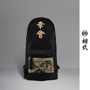 初�q中国风潮牌复古刺绣久仰幸会胸包男女休闲单肩包