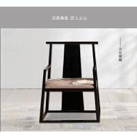 新中式太师椅实木餐椅三件套会所家具酒店休闲椅黑色印花中式椅子