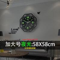 欧式钟表挂钟客厅现代简约时钟个性创意时尚表家用大气装饰石英钟 夜光 20英寸以上
