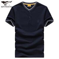 七匹狼T恤男2020夏季新款男士中青年纯棉宽松短袖体恤男装上衣LZ