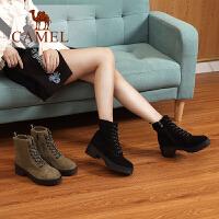camel骆驼女鞋冬季新款马丁靴 简约时尚韩版百搭靴子粗跟系带女靴