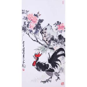 著名大写意花鸟画大师,书法家、篆刻家   陈大羽《大吉图》