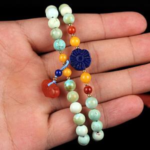 原矿高瓷绿松石圆珠DIY手串 配南红如意 重量20.08g