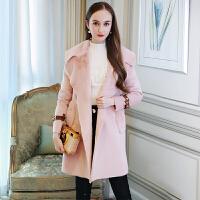 西装翻领粉色大衣皮毛一体外套