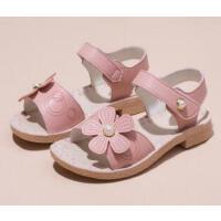 女童凉鞋新款简约牛皮小花宝宝沙滩鞋小公主露趾儿童凉鞋