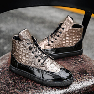冬季鳄鱼纹牛皮高帮男鞋保暖时时休闲板鞋青年运动鞋