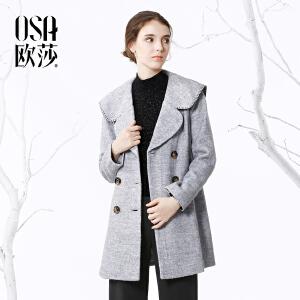 欧莎冬季新款短款外套女韩范灰色妮子大衣潮D21116