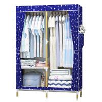 简易衣柜简约现代经济型柜子实木组装宿舍卧室折叠布衣柜省空间橱 65款粉色脚丫 实木加粗加固 2门