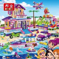 邦宝益智媚力沙滩小颗粒拼装积木女孩玩具5-12岁公主城堡别墅6136