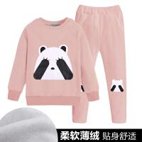 女童套装春季运动服卫衣+长裤休闲两件套装 小女孩新款外出衣服 粉色捂眼熊 薄绒
