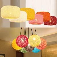现代餐厅吊灯灯罩外壳创意圆形麻藤麻球灯罩台灯卧室道灯具配件