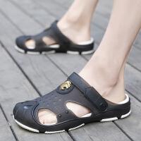 夏季韩版潮流男士洞洞鞋拖鞋沙滩鞋透气女鞋半拖鞋情侣大码凉鞋子
