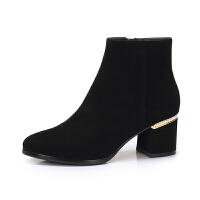 camel骆驼女鞋 冬季新品 时尚英伦高跟拉链简约摩登靴子女