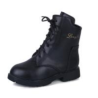 儿童皮鞋女童短靴秋冬2018新款韩版真皮马丁靴加绒防滑公主棉靴子