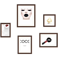 照片冲印玄关餐厅小尺寸5框照片墙相片墙创意个性相框挂墙组合 0.6*0.8 白木框