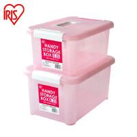 爱丽思IRIS 小号手提式奶瓶透明有盖箱子塑料收纳箱整理储物箱一个装两个包邮  5/8升